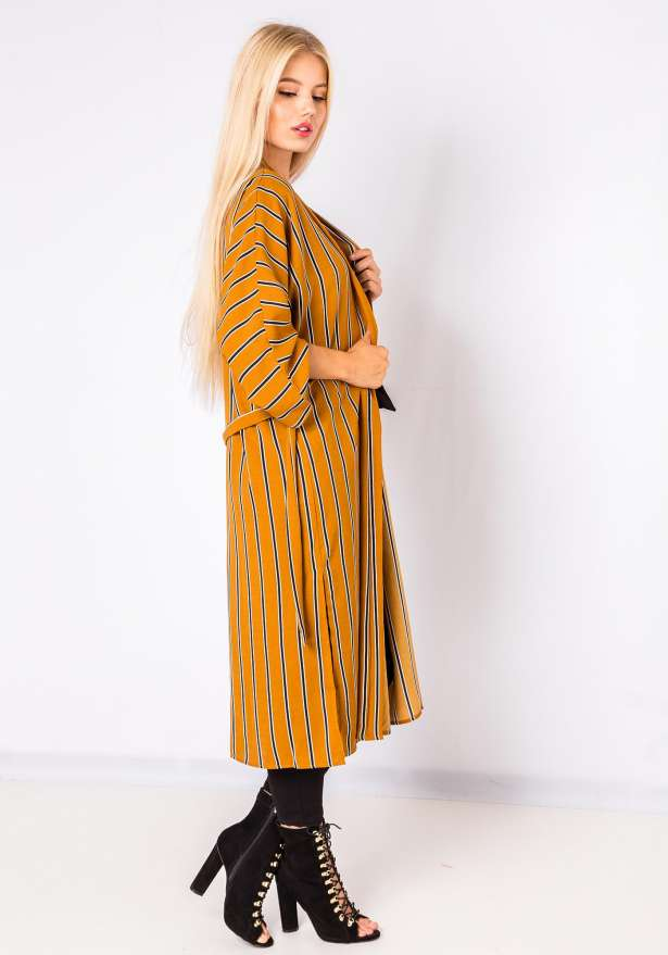 Tres Chic Striped Kimono Top In Mustard