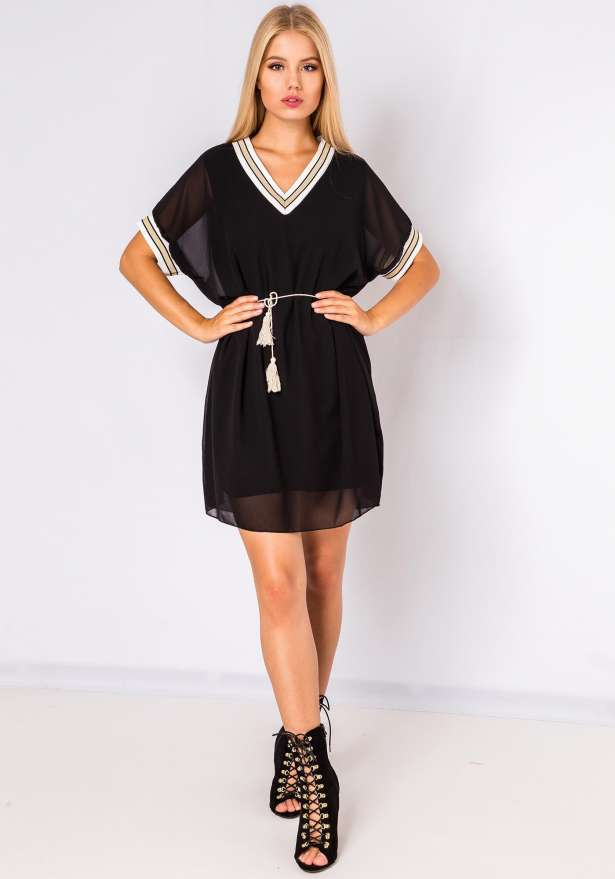 Cute Sheer Shirt Dress In Black