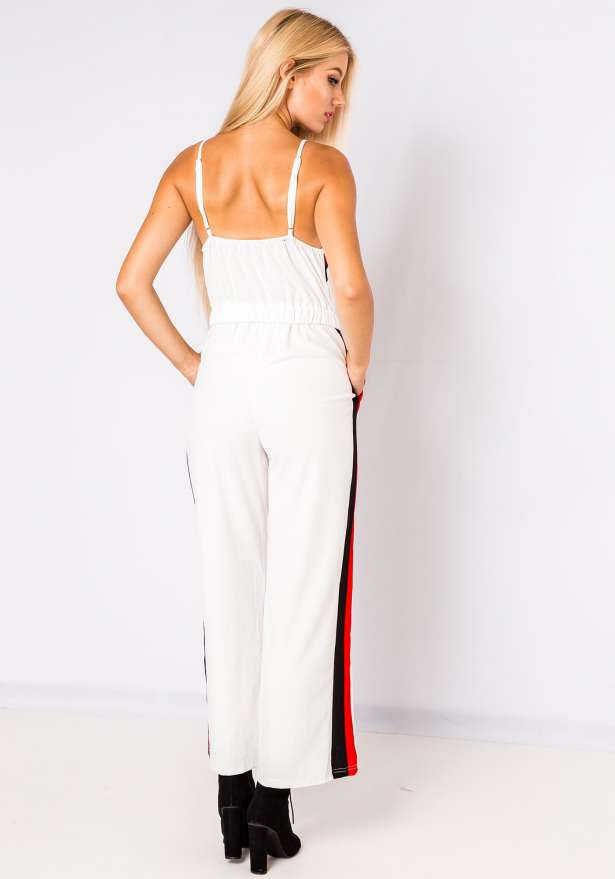 Side Stripe Strap Top Jumpsuit In White