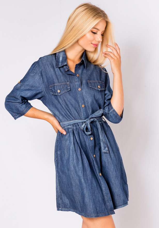 Tie Front Denim Jeans Dress Shirt
