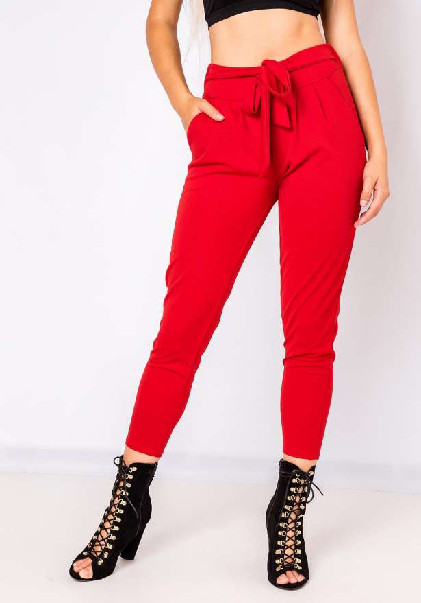 Demi Tie Front Pants In Red