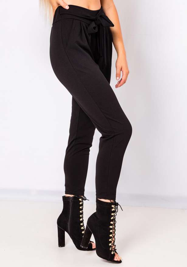 Demi Tie Front Pants In Black