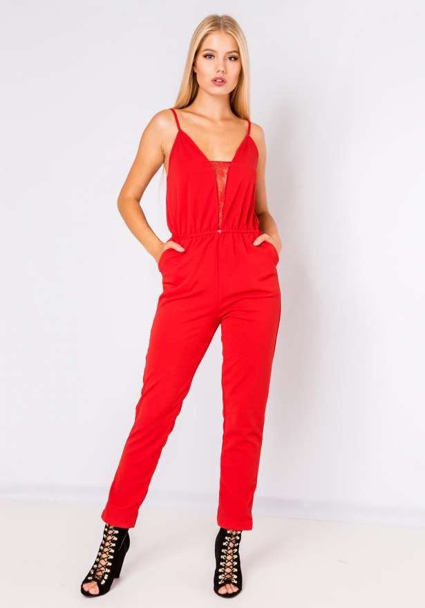 Deep Laced Neckline Jumpsuit In Red