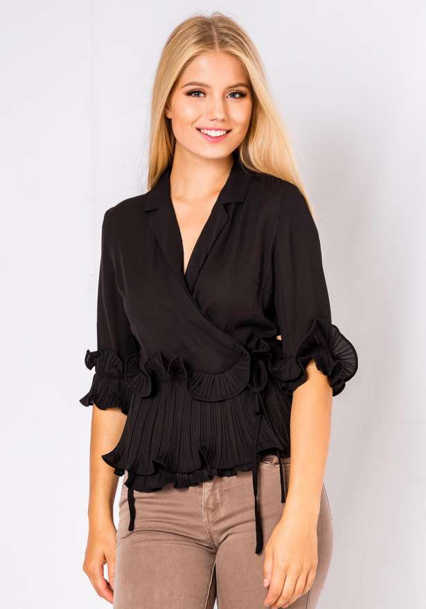 Julia Front Tie Frill Blouse In Black