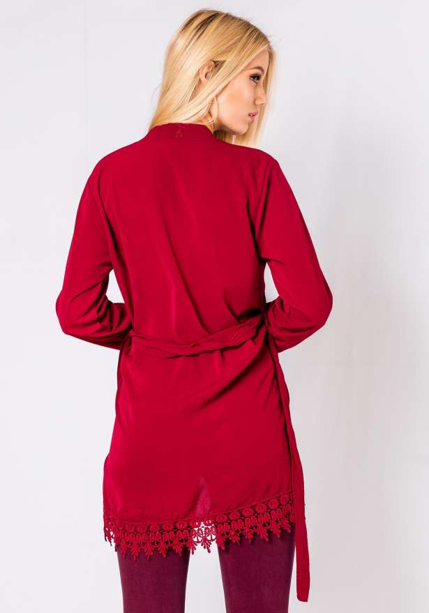 Lace Detail Kimono Top In Wine