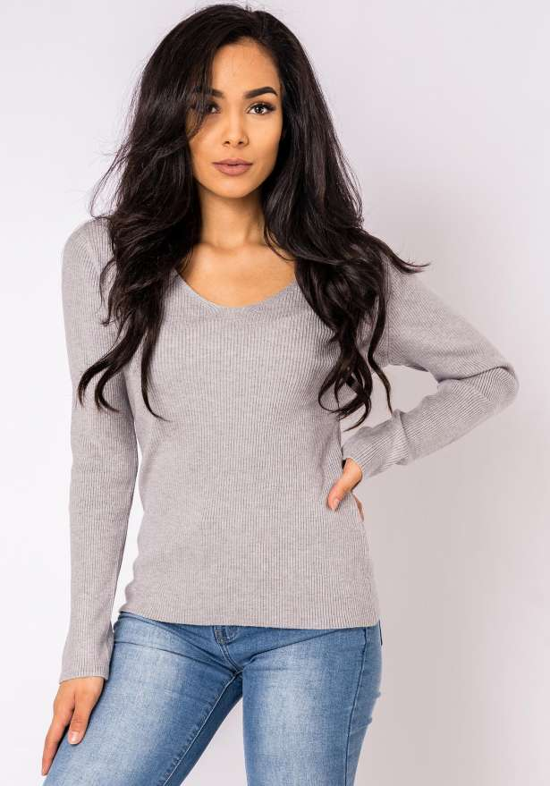Ella Knitted Long Sleeve Jumper In Grey