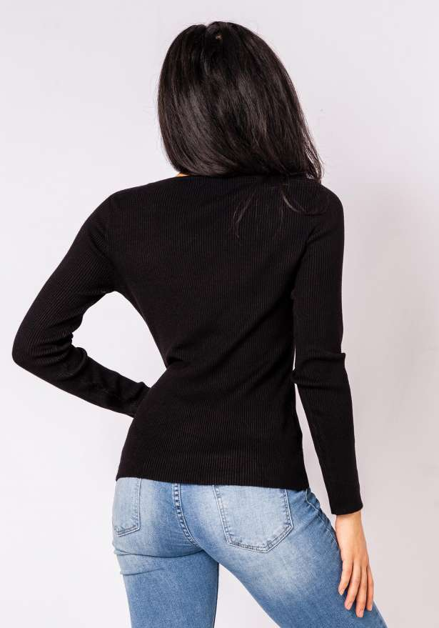 Ella Knitted Long Sleeve Jumper In Black