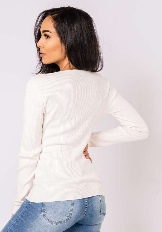 Ella Knitted Long Sleeve Jumper In Beige