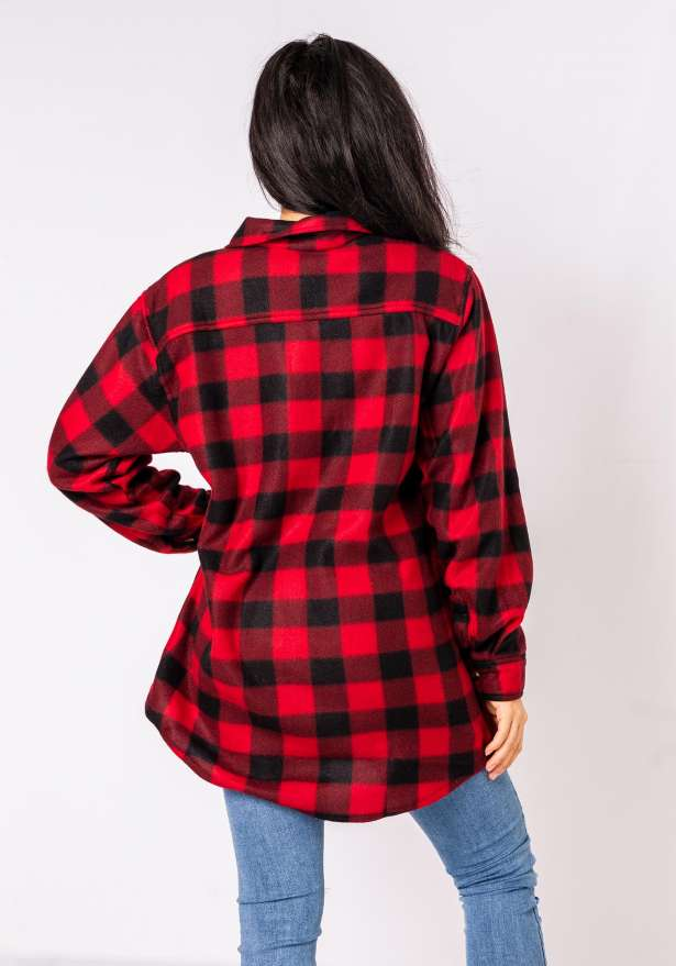 Checkered Lined Flannel Shirt In Red