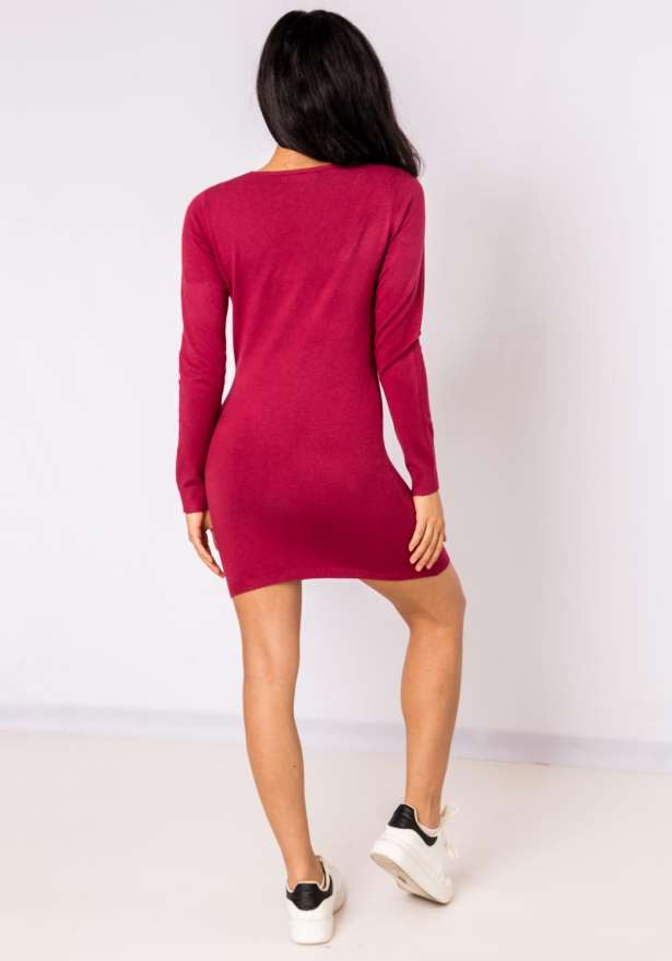 Nickie Long Sleeve Bodycon Sweater In Wine