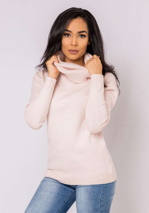 Alice Long Sleeve Turtle Neck Sweater In Pink