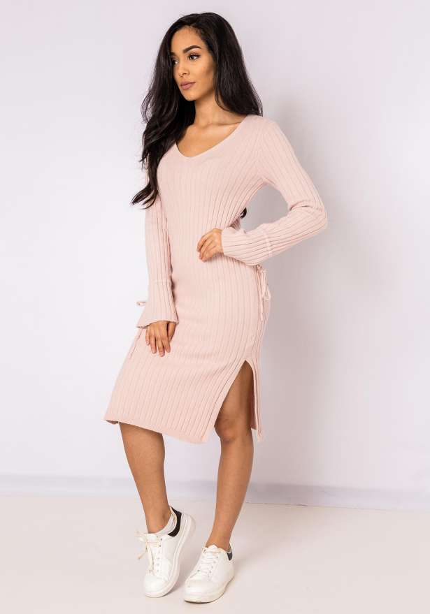 Jenna Long Sleeve Lace Detail Bodycon Dress In Pink