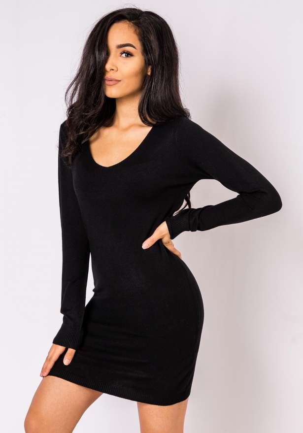 Nickie Long Sleeve Bodycon Sweater In Black