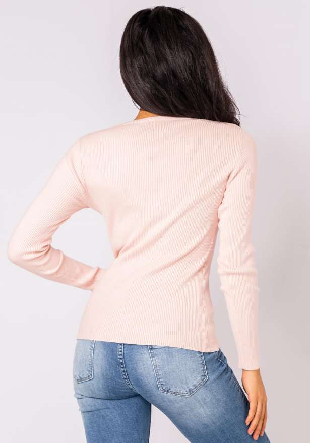 Tia Long Sleeve Laced Neck Sweater In Pink