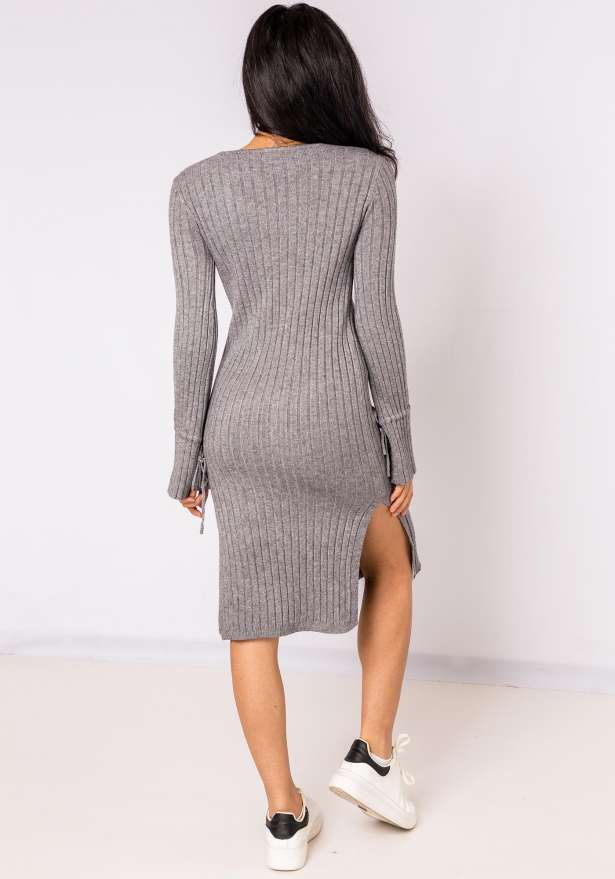 Jenna Long Sleeve Lace Detail Bodycon Dress In Grey