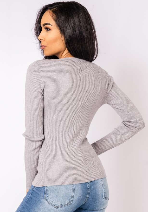Tia Long Sleeve Laced Neck Sweater In Grey