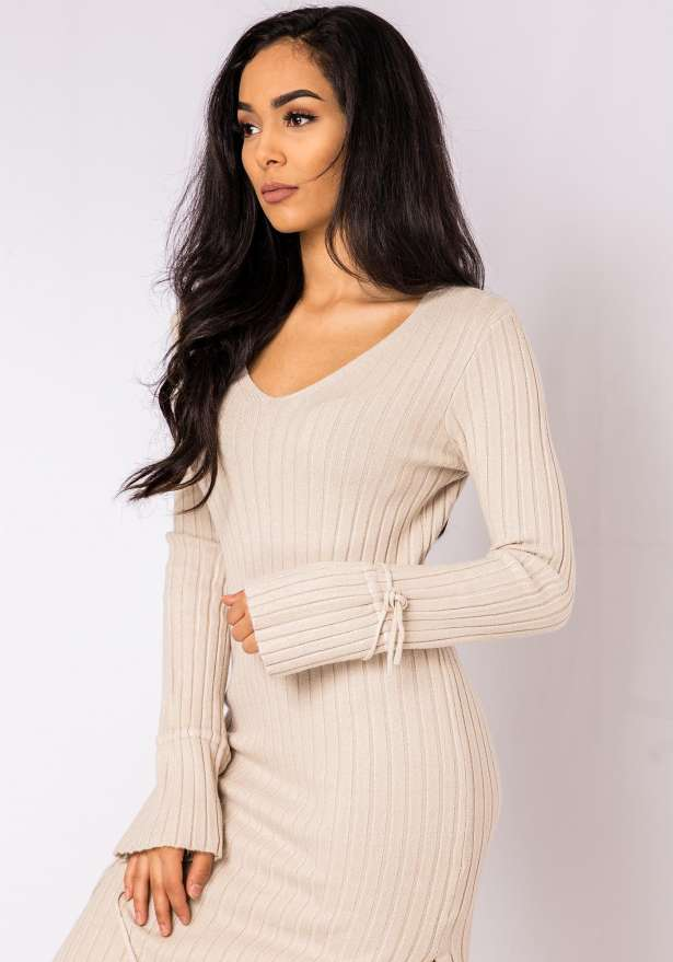 Jenna Long Sleeve Lace Detail Bodycon Dress In Beige