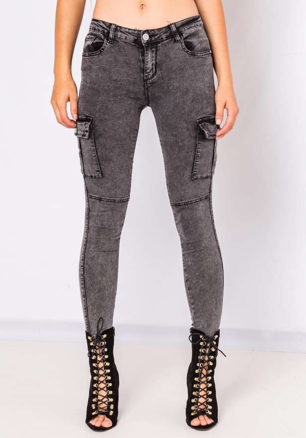 Olivia Side Pocket Skinny Jeans In Grey
