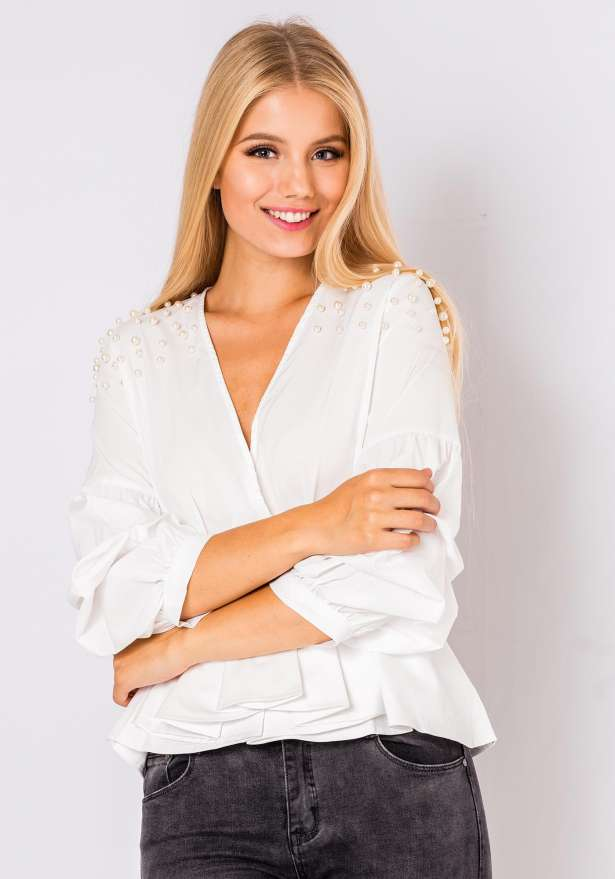 Bella Pearl Detail Blouse In White