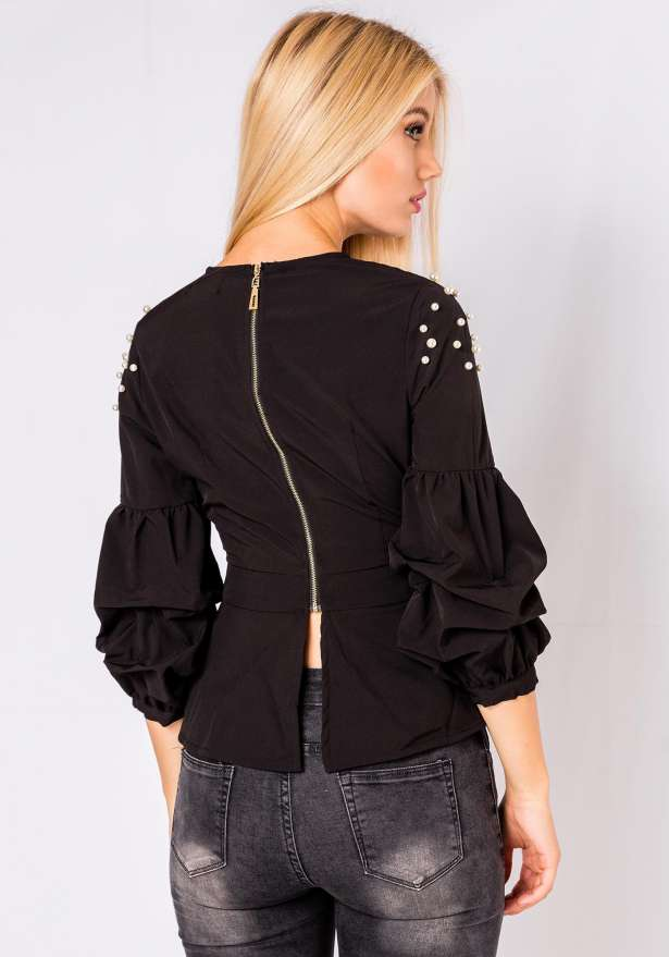 Bella Pearl Detail Blouse In Black
