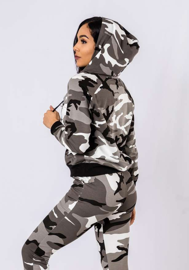 Premium Camo Tracksuit Set In White