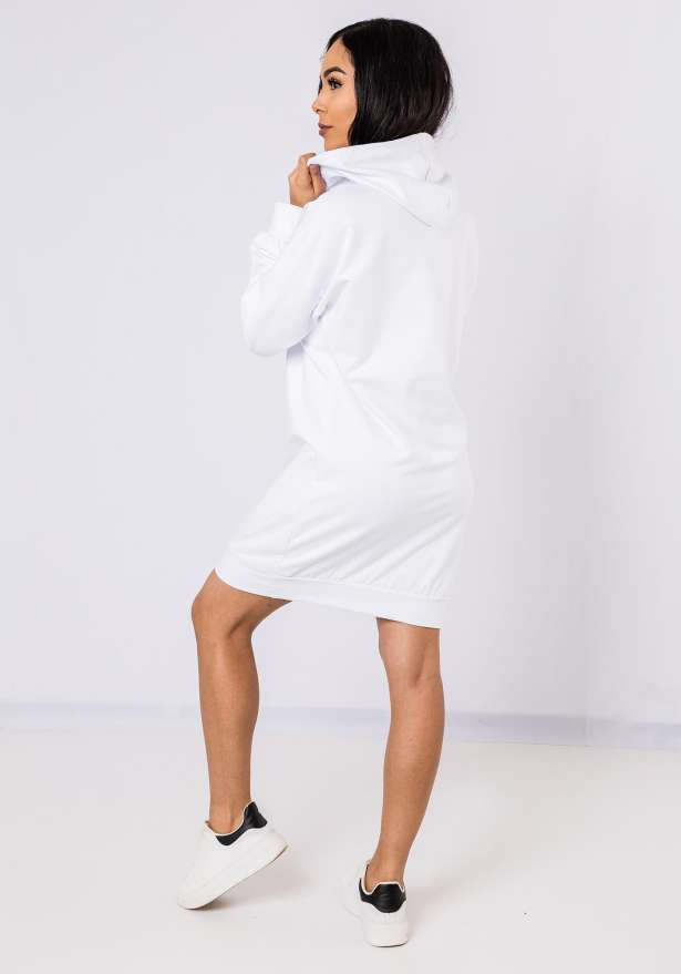 Lightweight Hoodie Dress In White