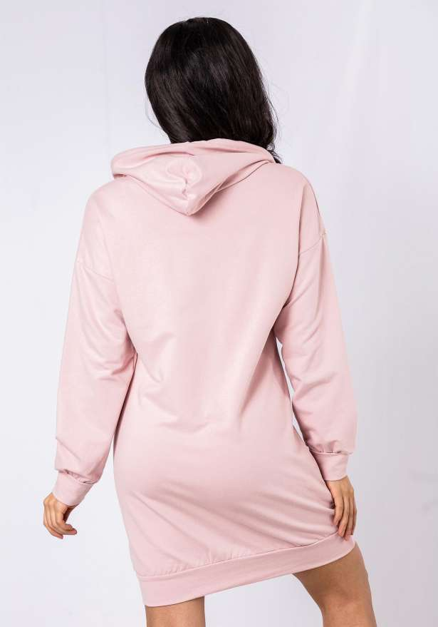 Lightweight Hoodie Dress In Pink
