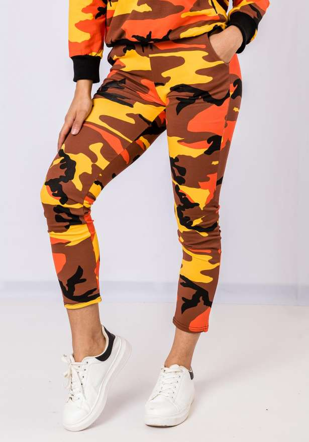Premium Camo Tracksuit Set In Orange