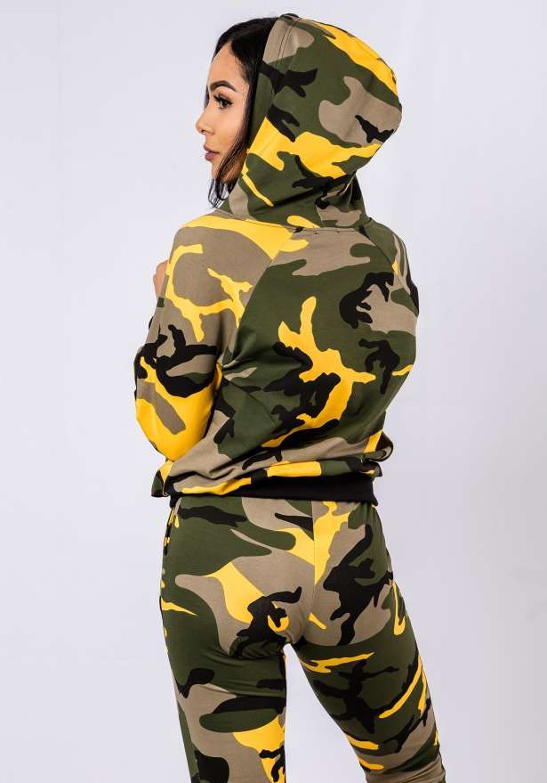 Premium Camo Tracksuit Set In Yellow