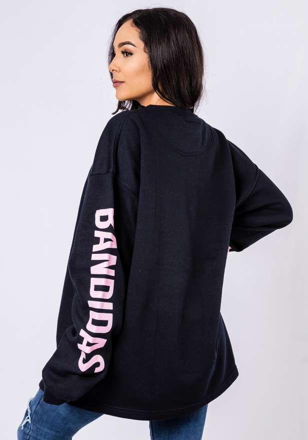 Bandidas Pink Flames Sweater In Navy
