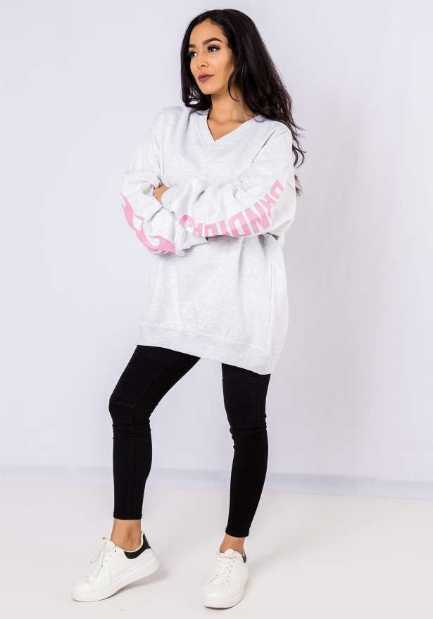 Bandidas Pink Flames Sweater In White