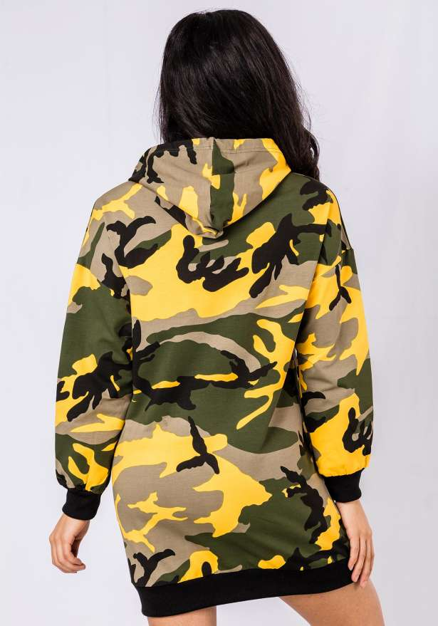 Premium Camo Hoodie Dress In Yellow