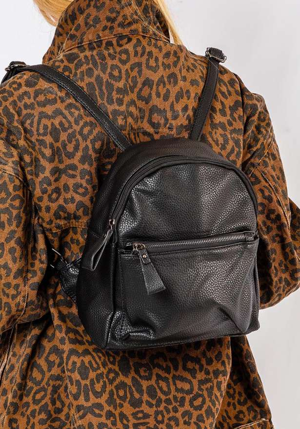 Faux leather bae backpack in black