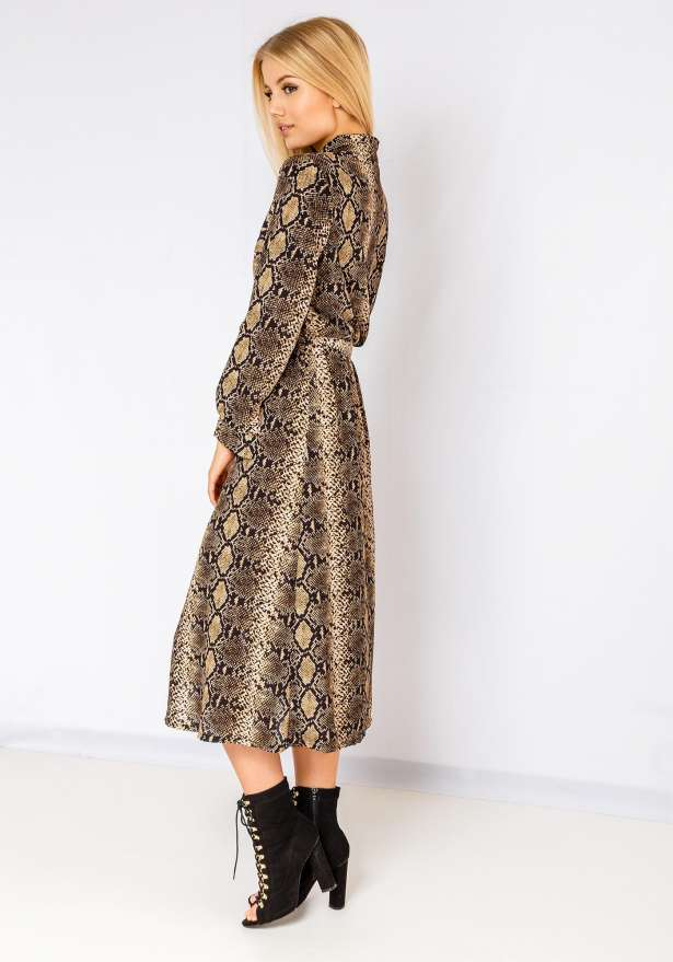 Selena Snake Print Button Up Maxi Dress In Brown