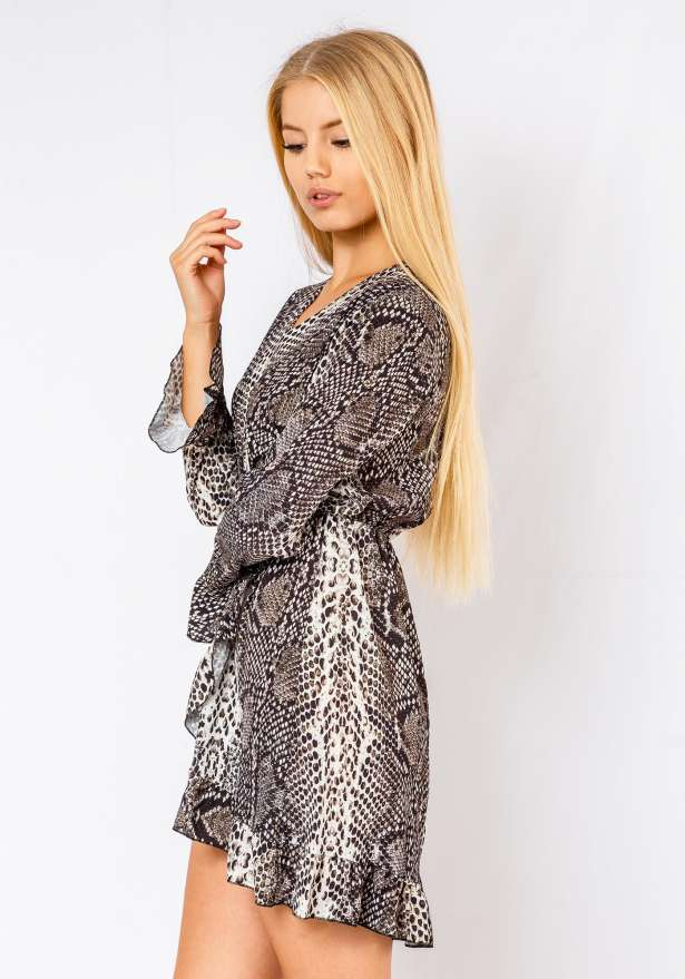Selena Snake Print Long Sleeve Dress In White