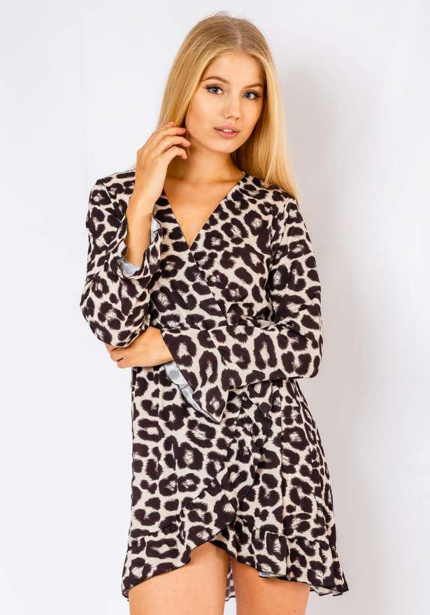 Selena Leopard Print Long Sleeve Dress In White