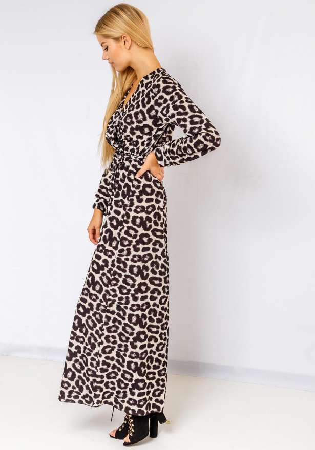 Selena Leopard Plunge Maxi Dress In White