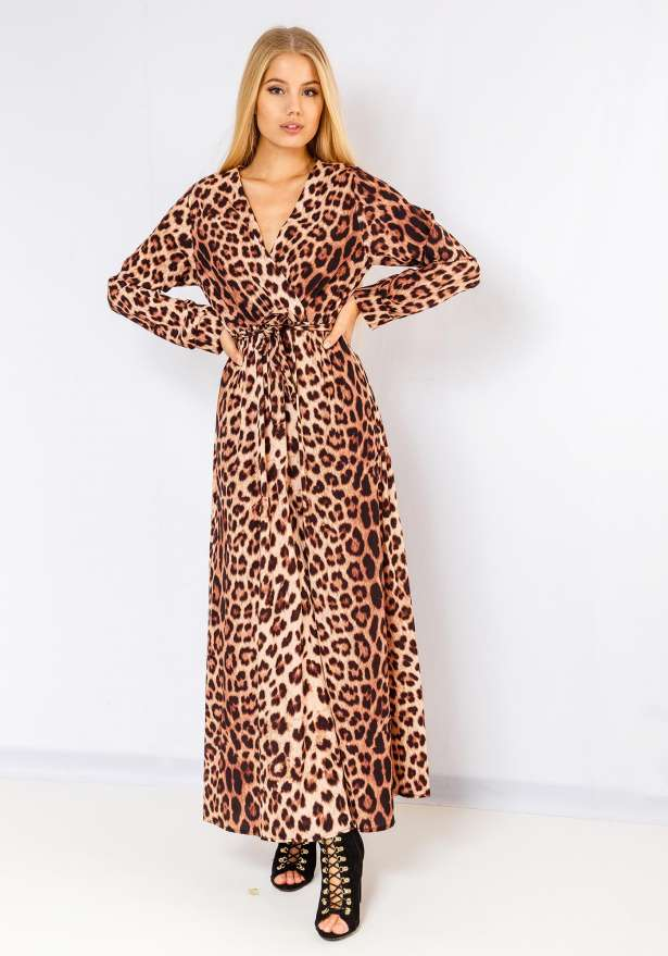 Selena Leopard Plunge Maxi Dress In Brown