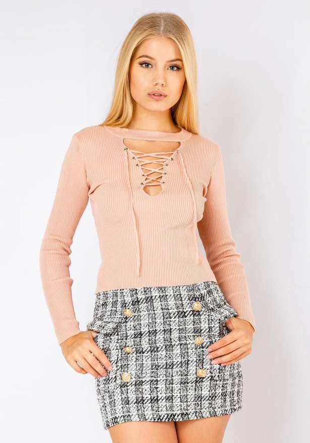 Long Sleeve Lace Up Front Jumper In Baby Pink