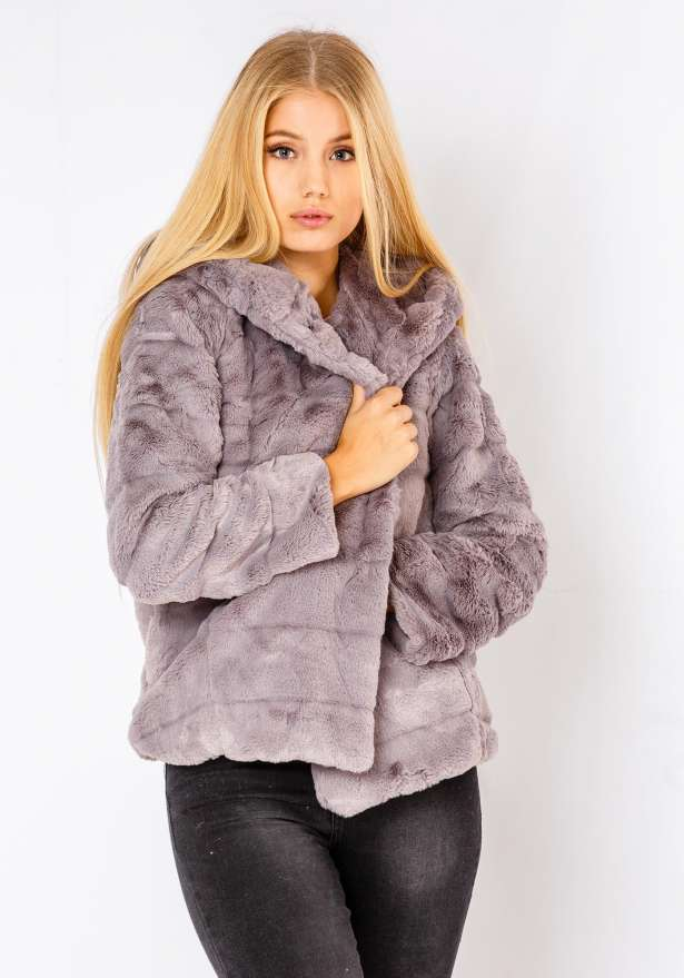 Natalie Furry Jacket In Grey
