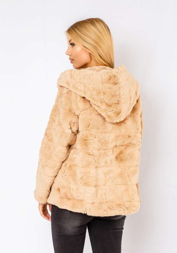 Natalie Furry Jacket In Beige
