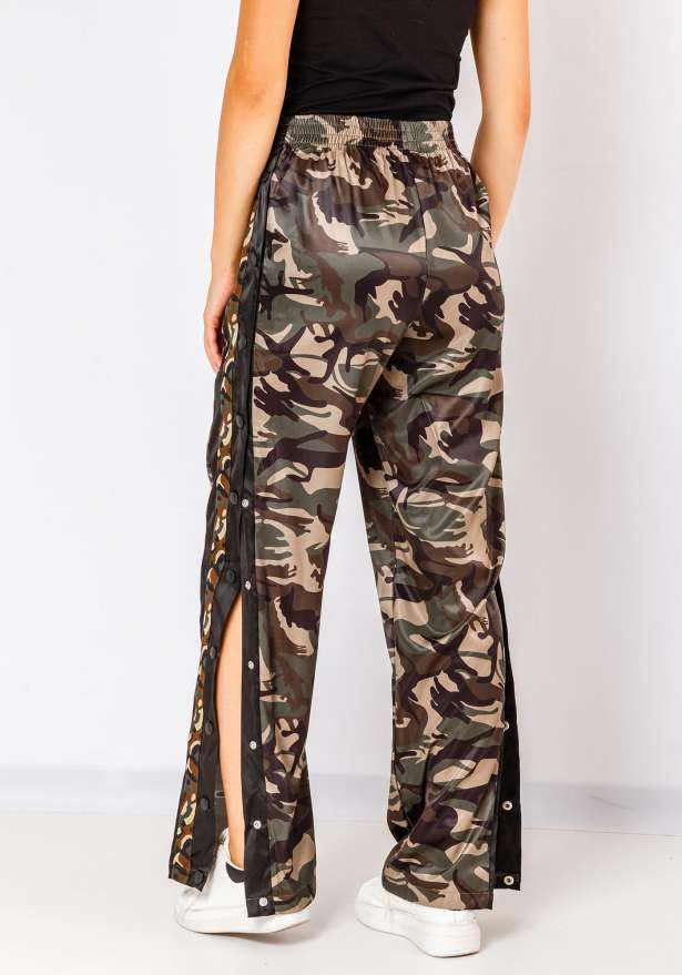 Fiorebel Button Up Joggers In Camo Green