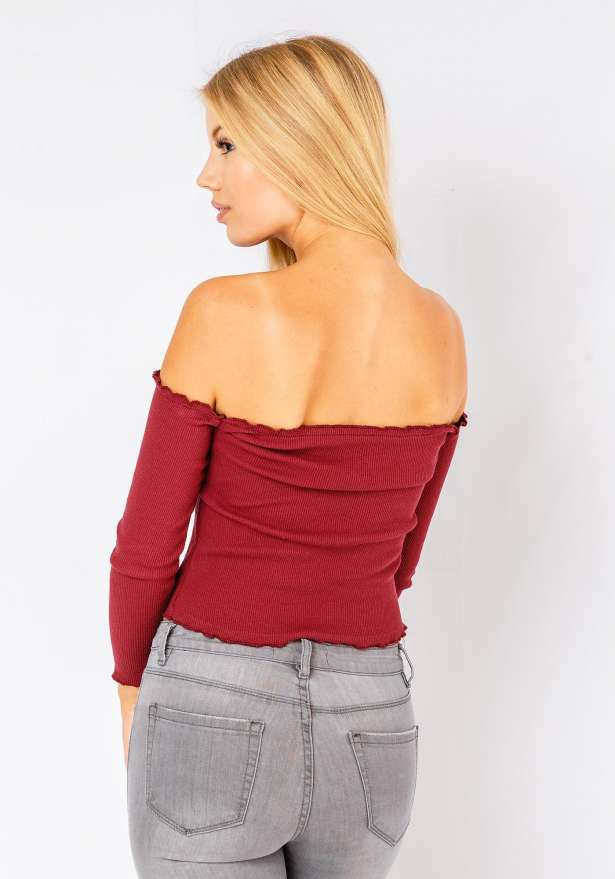 Off Shoulder Ribbed Crop Top In Wine