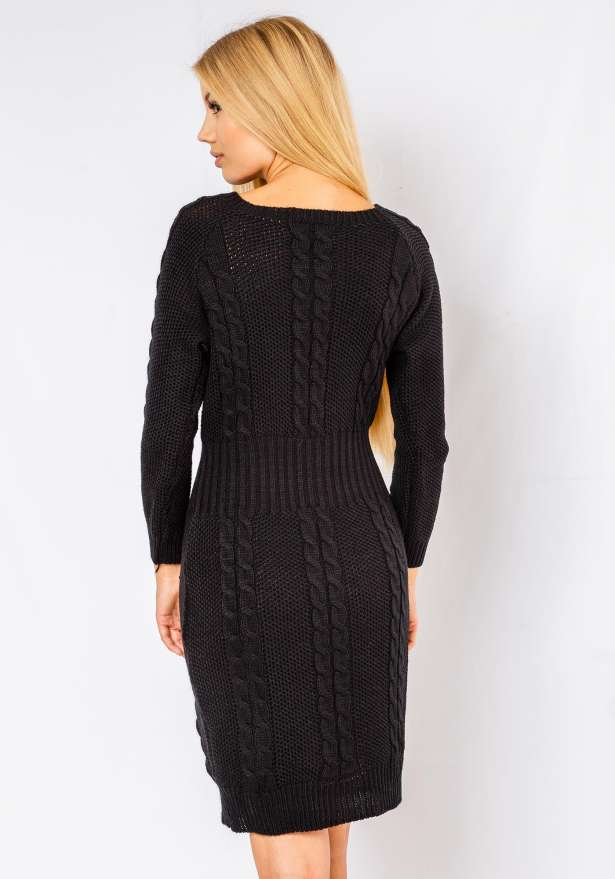 Alena Long Sleeve Cable Knitted Dress In Black