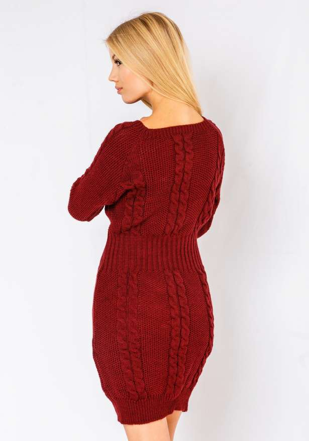 Alena Long Sleeve Cable Knitted Dress In Wine