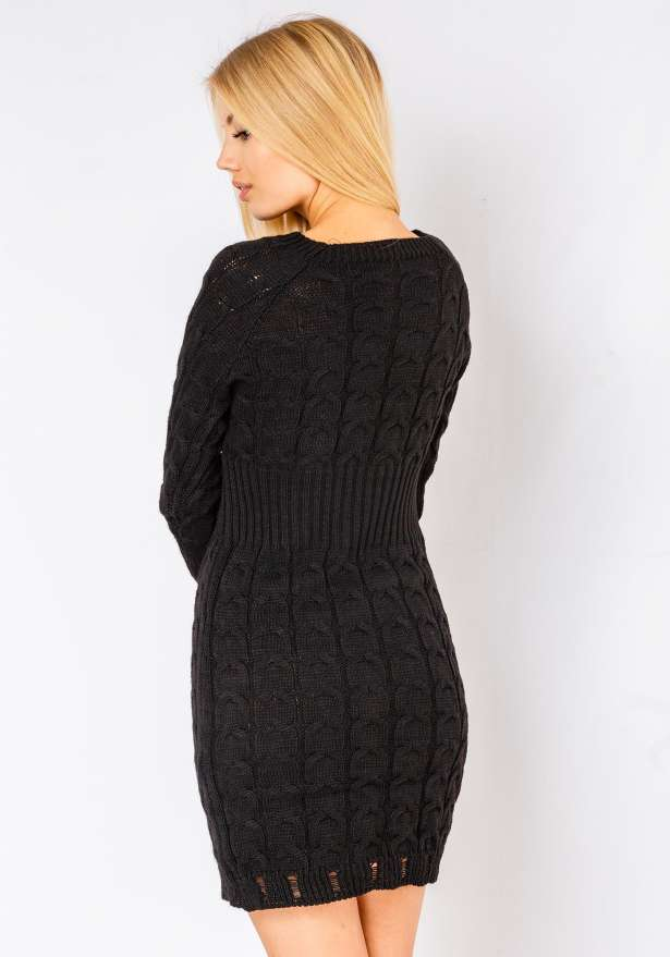 Alena Long Sleeve Knitted Pattern Dress In Black