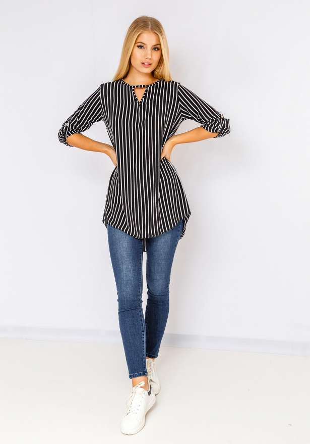 Long Sleeve Striped Blouse In Black