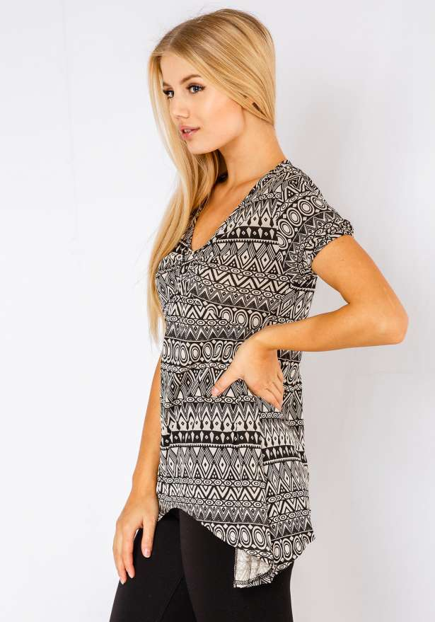 V-Neck Aztec Tunic Top