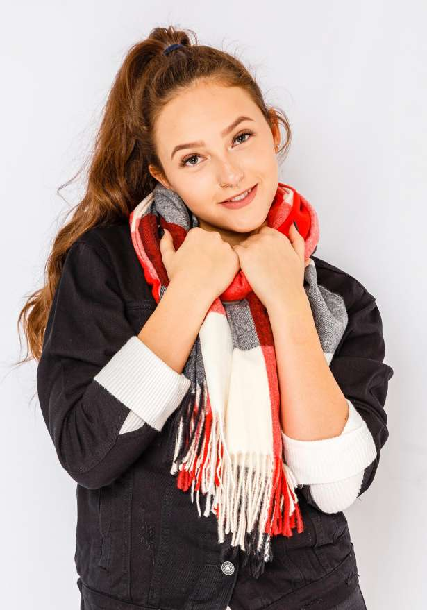 Trio Color Scarf In Red