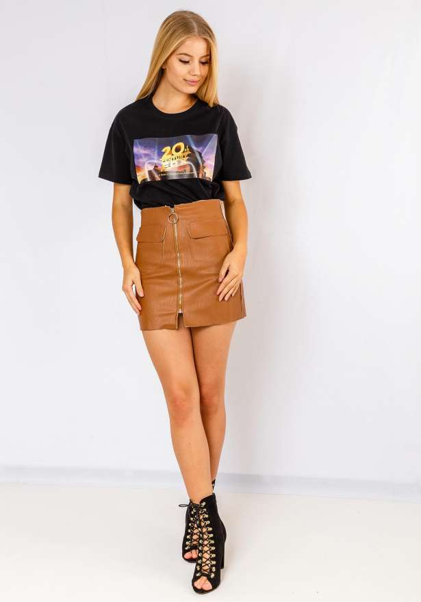 Faux Leather Zip Skirt In Brown